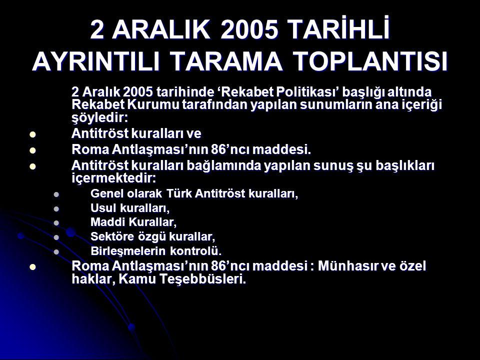 2 ARALIK 2005 TARİHLİ AYRINTILI TARAMA TOPLANTISI 2 Aralık 2005 tarihinde 'Rekabet Politikası' başlığı altında Rekabet Kurumu tarafından yapılan sunum