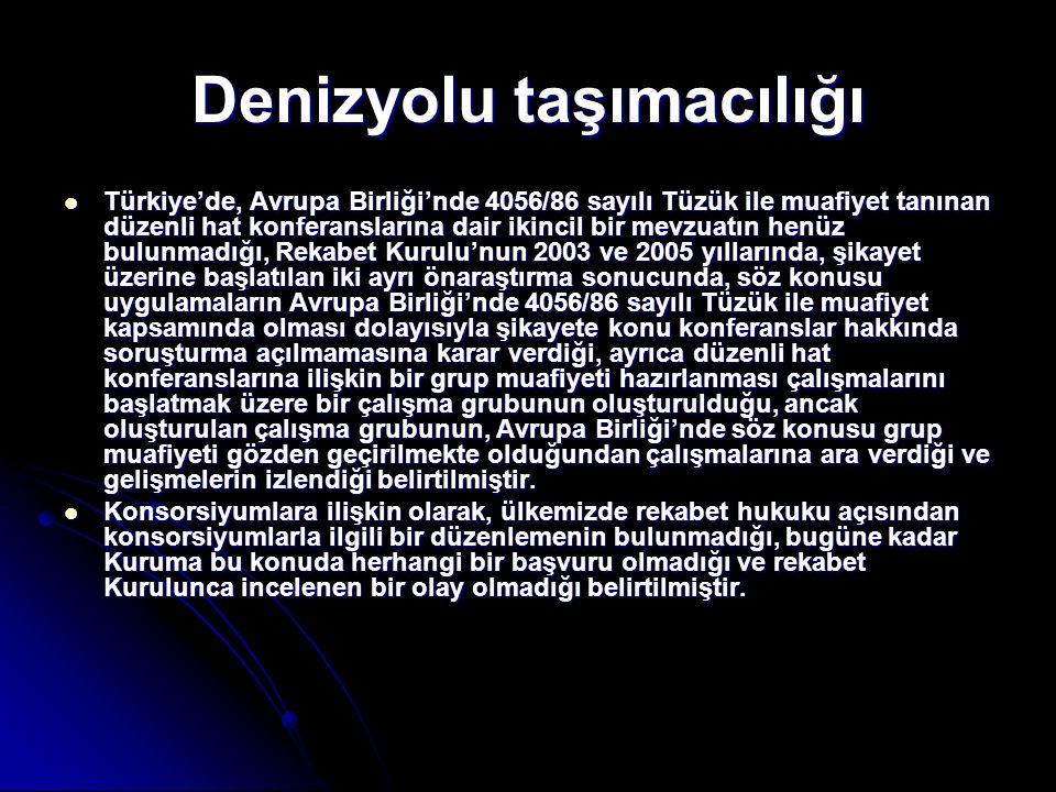 Denizyolu taşımacılığı  Türkiye'de, Avrupa Birliği'nde 4056/86 sayılı Tüzük ile muafiyet tanınan düzenli hat konferanslarına dair ikincil bir mevzuat