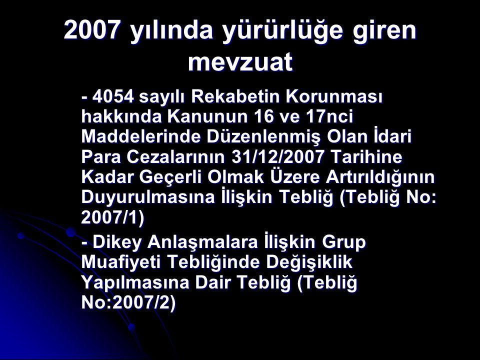 2007 yılında yürürlüğe giren mevzuat - 4054 sayılı Rekabetin Korunması hakkında Kanunun 16 ve 17nci Maddelerinde Düzenlenmiş Olan İdari Para Cezaların