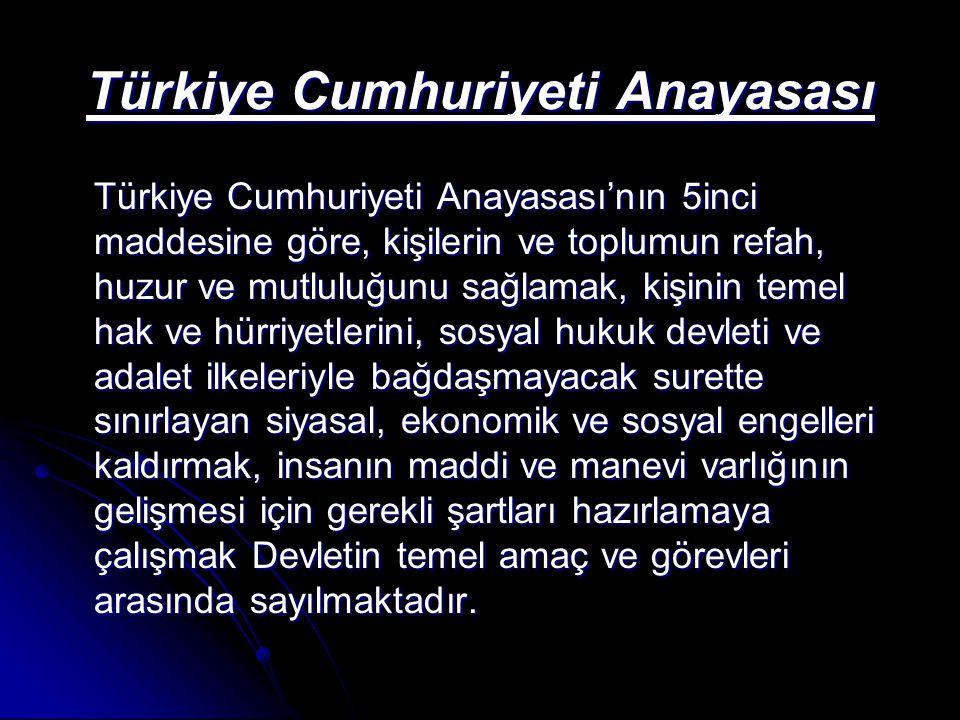 Türkiye Cumhuriyeti Anayasası Türkiye Cumhuriyeti Anayasası'nın 5inci maddesine göre, kişilerin ve toplumun refah, huzur ve mutluluğunu sağlamak, kişi