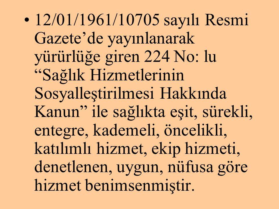 """•12/01/1961/10705 sayılı Resmi Gazete'de yayınlanarak yürürlüğe giren 224 No: lu """"Sağlık Hizmetlerinin Sosyalleştirilmesi Hakkında Kanun"""" ile sağlıkta"""