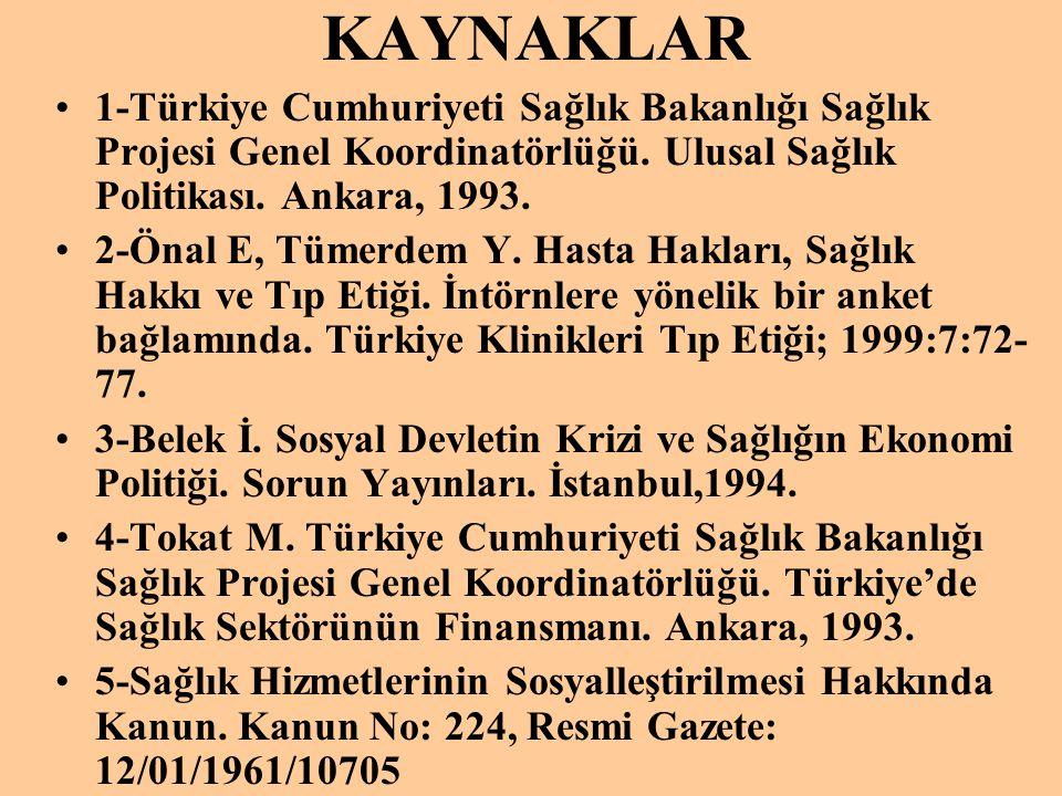 KAYNAKLAR •1-Türkiye Cumhuriyeti Sağlık Bakanlığı Sağlık Projesi Genel Koordinatörlüğü. Ulusal Sağlık Politikası. Ankara, 1993. •2-Önal E, Tümerdem Y.
