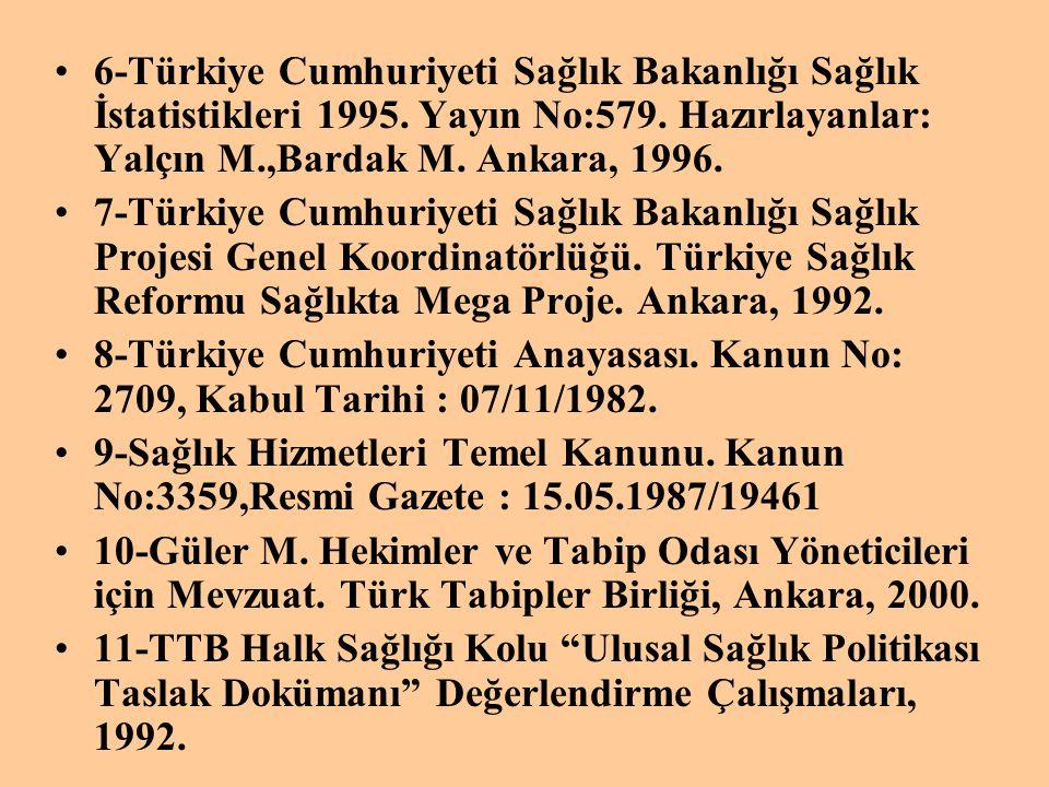 •6-Türkiye Cumhuriyeti Sağlık Bakanlığı Sağlık İstatistikleri 1995. Yayın No:579. Hazırlayanlar: Yalçın M.,Bardak M. Ankara, 1996. •7-Türkiye Cumhuriy