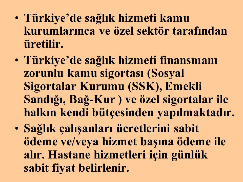 •Türkiye'de sağlık hizmeti kamu kurumlarınca ve özel sektör tarafından üretilir. •Türkiye'de sağlık hizmeti finansmanı zorunlu kamu sigortası (Sosyal