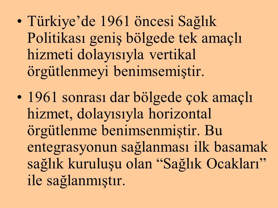 •Türkiye'de 1961 öncesi Sağlık Politikası geniş bölgede tek amaçlı hizmeti dolayısıyla vertikal örgütlenmeyi benimsemiştir. •1961 sonrası dar bölgede