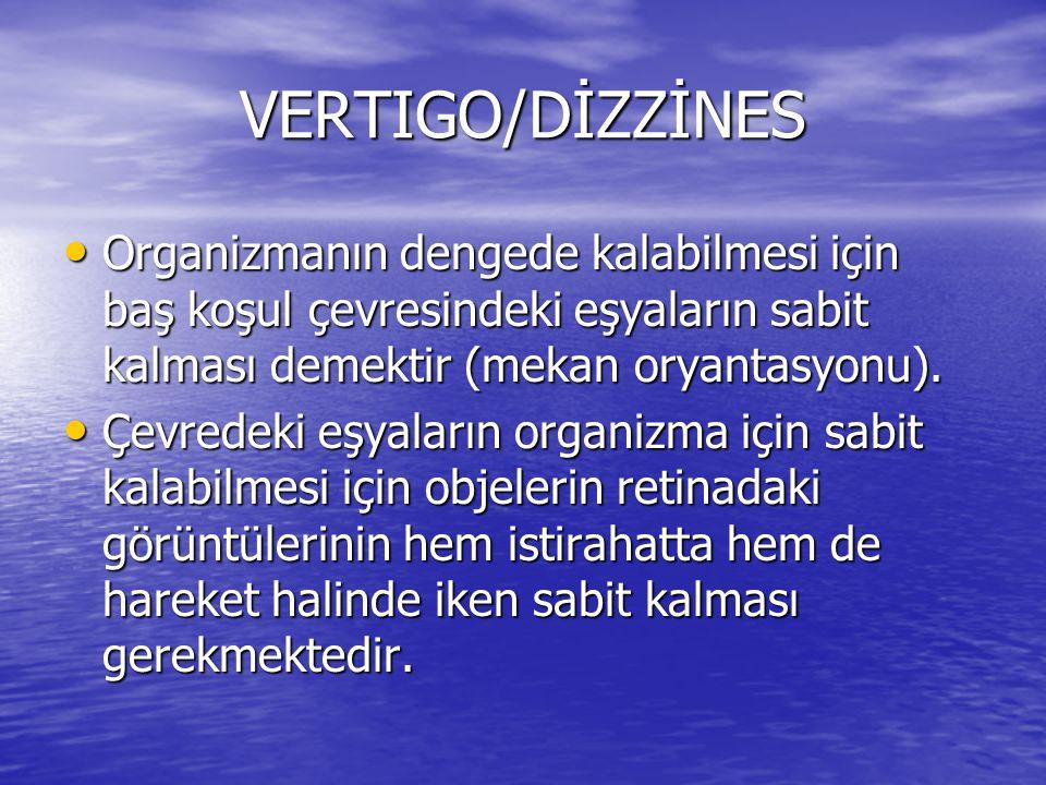 VERTIGO/DİZZİNES • Organizmanın dengede kalabilmesi için baş koşul çevresindeki eşyaların sabit kalması demektir (mekan oryantasyonu). • Çevredeki eşy