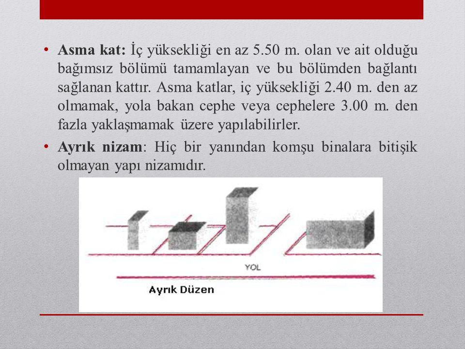 • Asma kat: İç yüksekliği en az 5.50 m. olan ve ait olduğu bağımsız bölümü tamamlayan ve bu bölümden bağlantı sağlanan kattır. Asma katlar, iç yüksekl