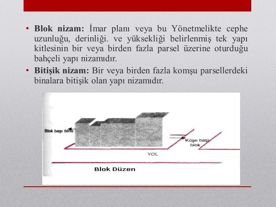 • Blok nizam: İmar planı veya bu Yönetmelikte cephe uzunluğu, derinliği. ve yüksekliği belirlenmiş tek yapı kitlesinin bir veya birden fazla parsel üz