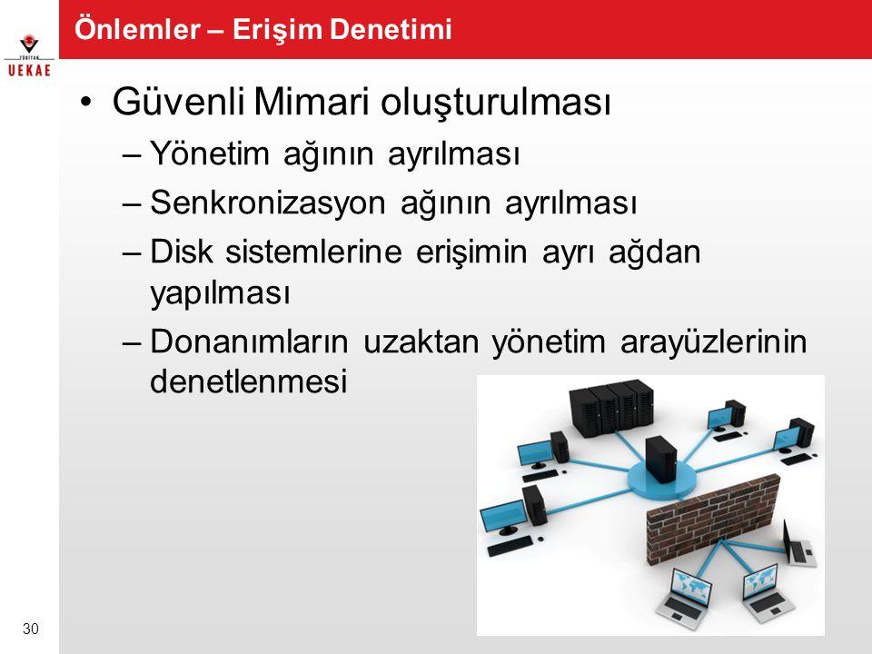Önlemler – Erişim Denetimi •Güvenli Mimari oluşturulması –Yönetim ağının ayrılması –Senkronizasyon ağının ayrılması –Disk sistemlerine erişimin ayrı a