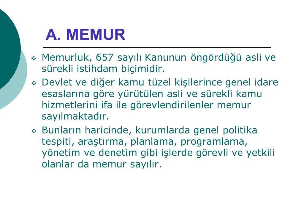 A. MEMUR  Memurluk, 657 sayılı Kanunun öngördüğü asli ve sürekli istihdam biçimidir.  Devlet ve diğer kamu tüzel kişilerince genel idare esaslarına