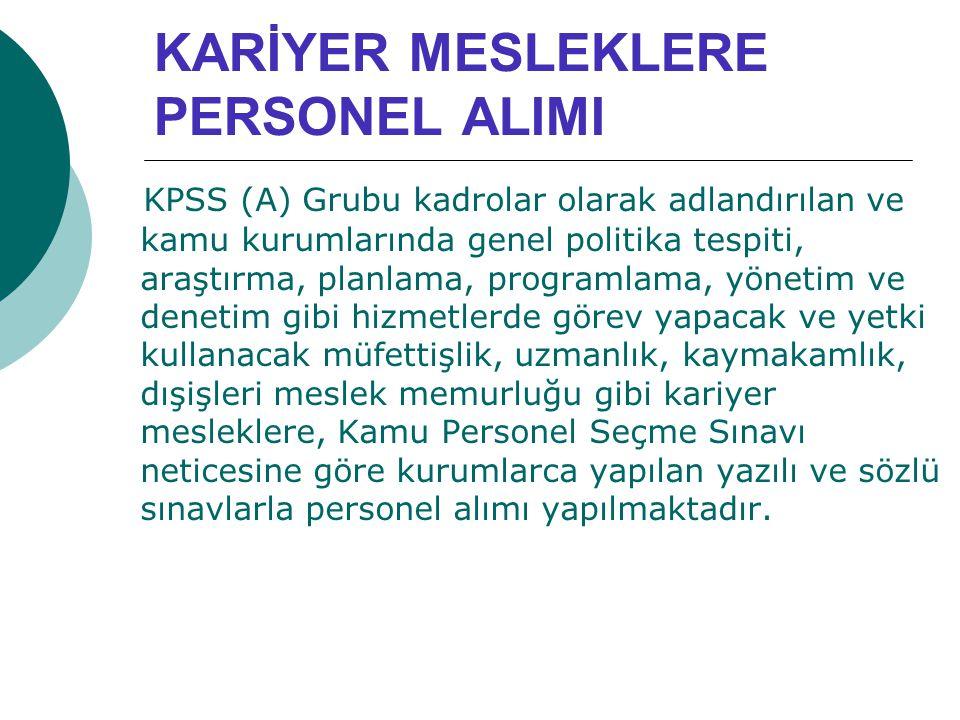 KARİYER MESLEKLERE PERSONEL ALIMI KPSS (A) Grubu kadrolar olarak adlandırılan ve kamu kurumlarında genel politika tespiti, araştırma, planlama, progra