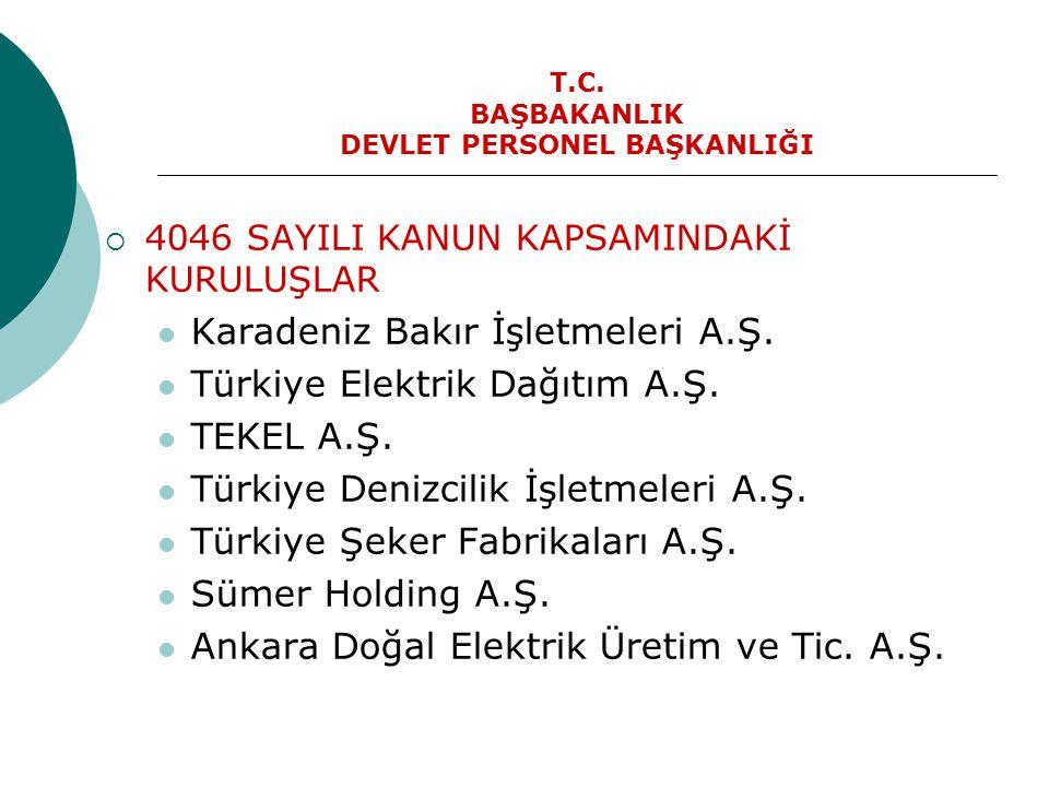T.C. BAŞBAKANLIK DEVLET PERSONEL BAŞKANLIĞI  4046 SAYILI KANUN KAPSAMINDAKİ KURULUŞLAR  Karadeniz Bakır İşletmeleri A.Ş.  Türkiye Elektrik Dağıtım