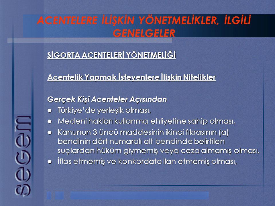 SİGORTA ACENTELERİ YÖNETMELİĞİ Acentelik Yapmak İsteyenlere İlişkin Nitelikler Gerçek Kişi Acenteler Açısından  Türkiye'de yerleşik olması,  Medeni