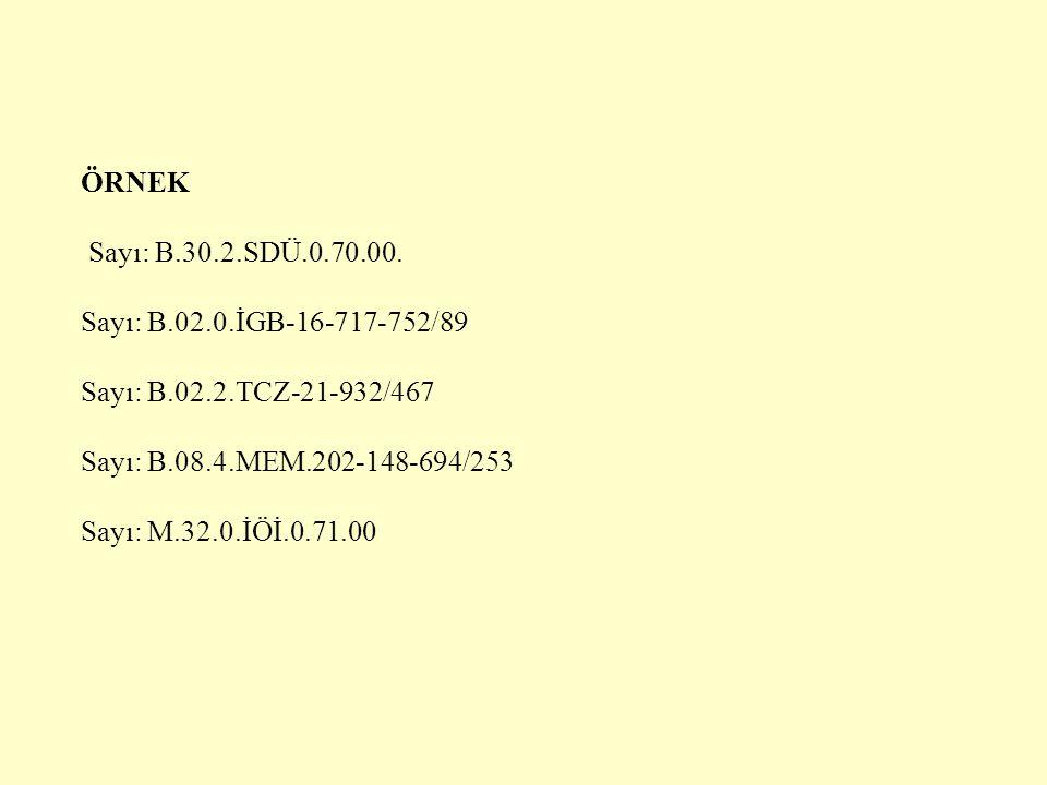 ÖRNEK Sayı: B.30.2.SDÜ.0.70.00. Sayı: B.02.0.İGB-16-717-752/89 Sayı: B.02.2.TCZ-21-932/467 Sayı: B.08.4.MEM.202-148-694/253 Sayı: M.32.0.İÖİ.0.71.00