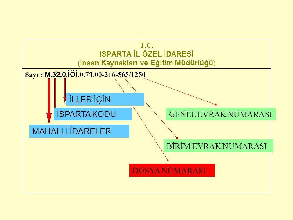 T.C. ISPARTA İL ÖZEL İDARESİ ( İnsan Kaynakları ve Eğitim Müdürlüğü ) Sayı : M.3 2. 0. İÖİ.0.7 1.00-316-565/1250 MAHALLİ İDARELER DOSYA NUMARASI GENEL
