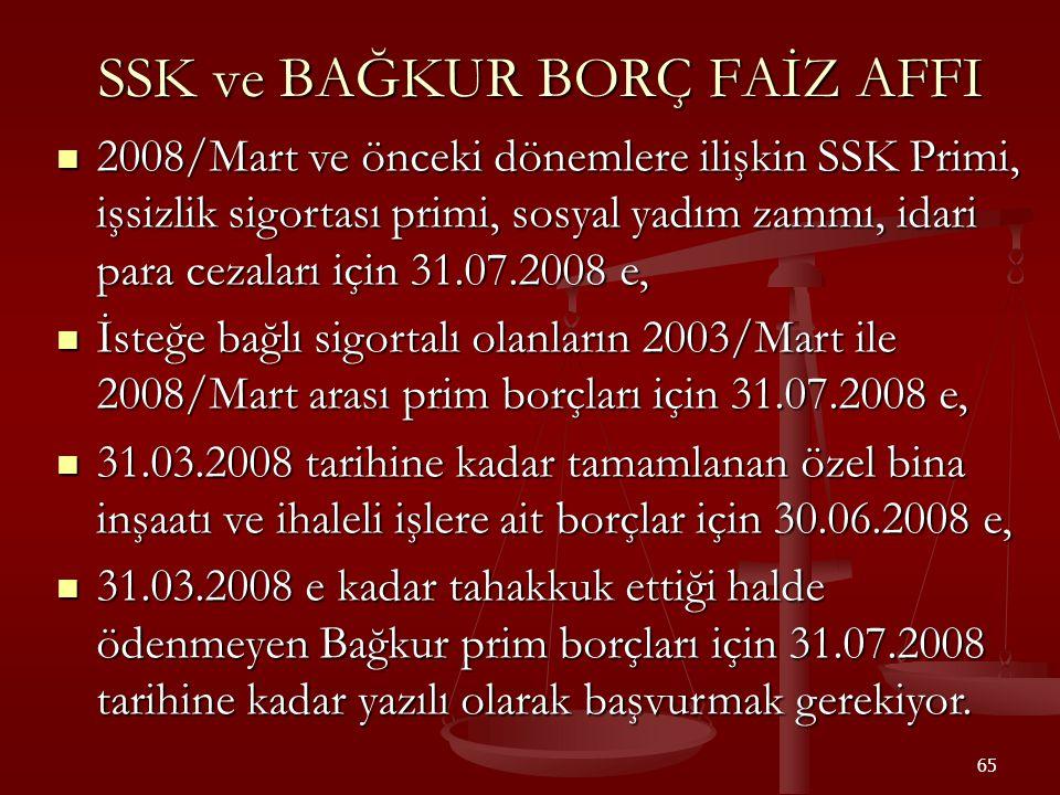 65 SSK ve BAĞKUR BORÇ FAİZ AFFI  2008/Mart ve önceki dönemlere ilişkin SSK Primi, işsizlik sigortası primi, sosyal yadım zammı, idari para cezaları i