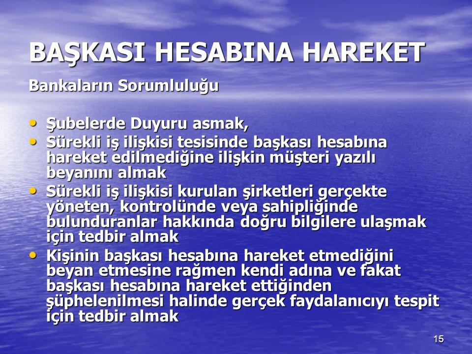 14 BAŞKASI HESABINA HAREKET • Yükümlü nezdinde veya bunlar aracılığıyla kendi adına ve fakat başkası hesabına hareket eden kimse, bu işlemleri yapmada