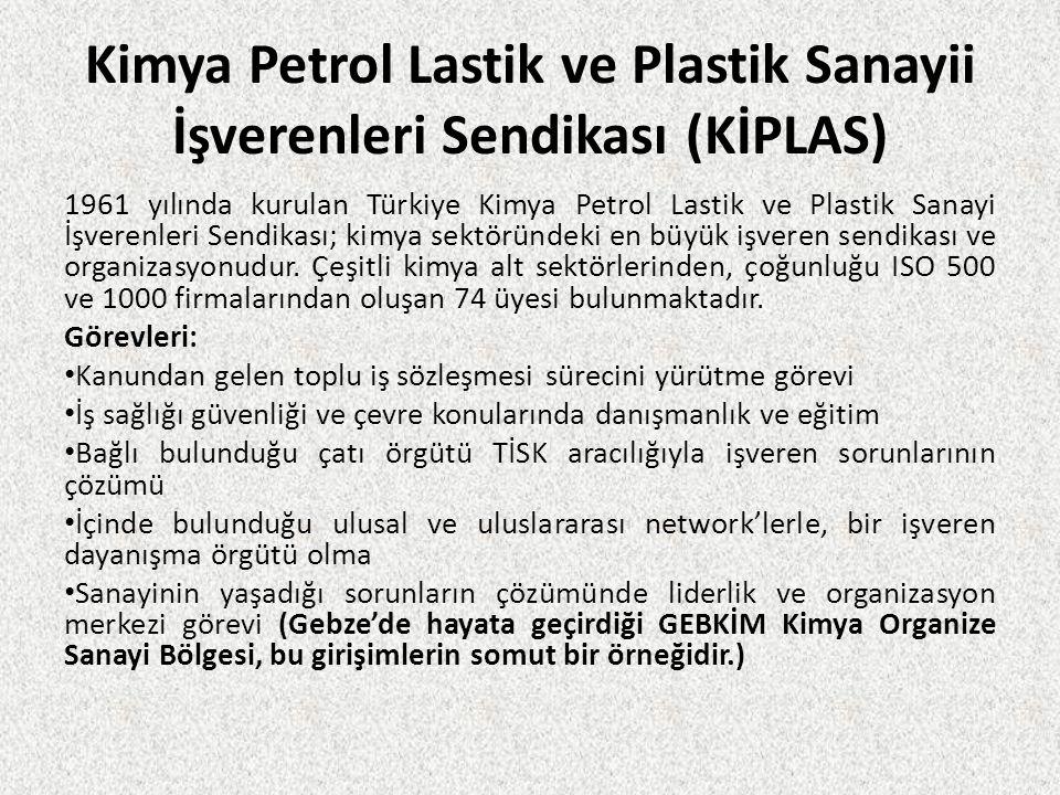 Kimya Petrol Lastik ve Plastik Sanayii İşverenleri Sendikası (KİPLAS) 1961 yılında kurulan Türkiye Kimya Petrol Lastik ve Plastik Sanayi İşverenleri S