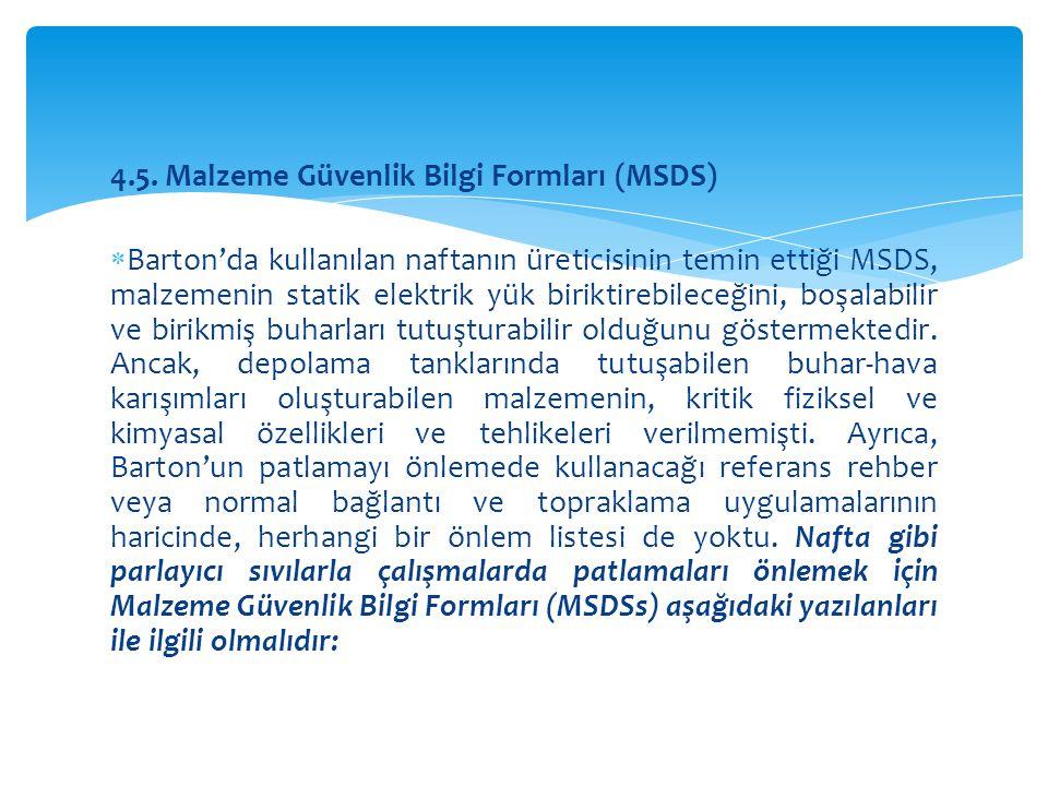 4.5. Malzeme Güvenlik Bilgi Formları (MSDS)  Barton'da kullanılan naftanın üreticisinin temin ettiği MSDS, malzemenin statik elektrik yük biriktirebi