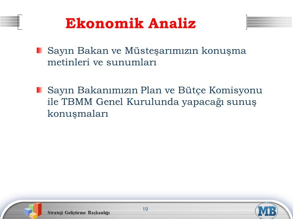 Strateji Geliştirme Başkanlığı 19 Ekonomik Analiz Sayın Bakan ve Müsteşarımızın konuşma metinleri ve sunumları Sayın Bakanımızın Plan ve Bütçe Komisyo