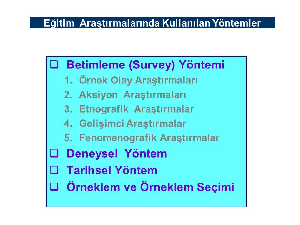 Eğitim Araştırmalarında Kullanılan Yöntemler  Betimleme (Survey) Yöntemi 1.Örnek Olay Araştırmaları 2.Aksiyon Araştırmaları 3.Etnografik Araştırmalar