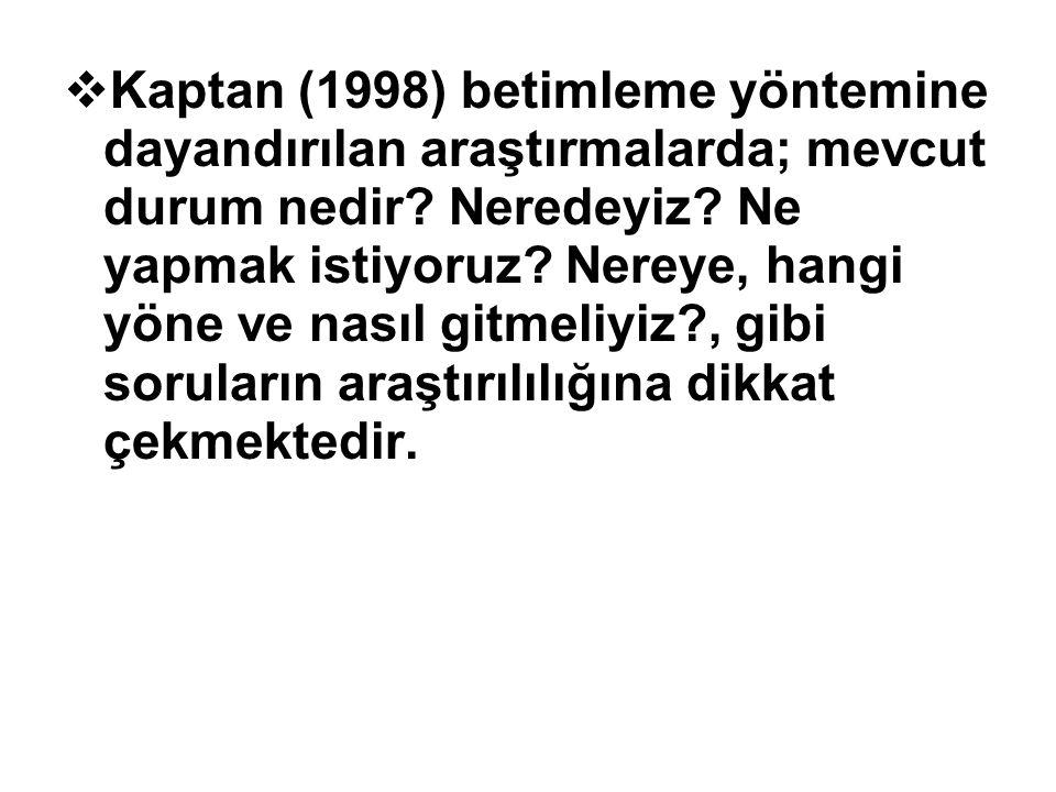  Kaptan (1998) betimleme yöntemine dayandırılan araştırmalarda; mevcut durum nedir? Neredeyiz? Ne yapmak istiyoruz? Nereye, hangi yöne ve nasıl gitme