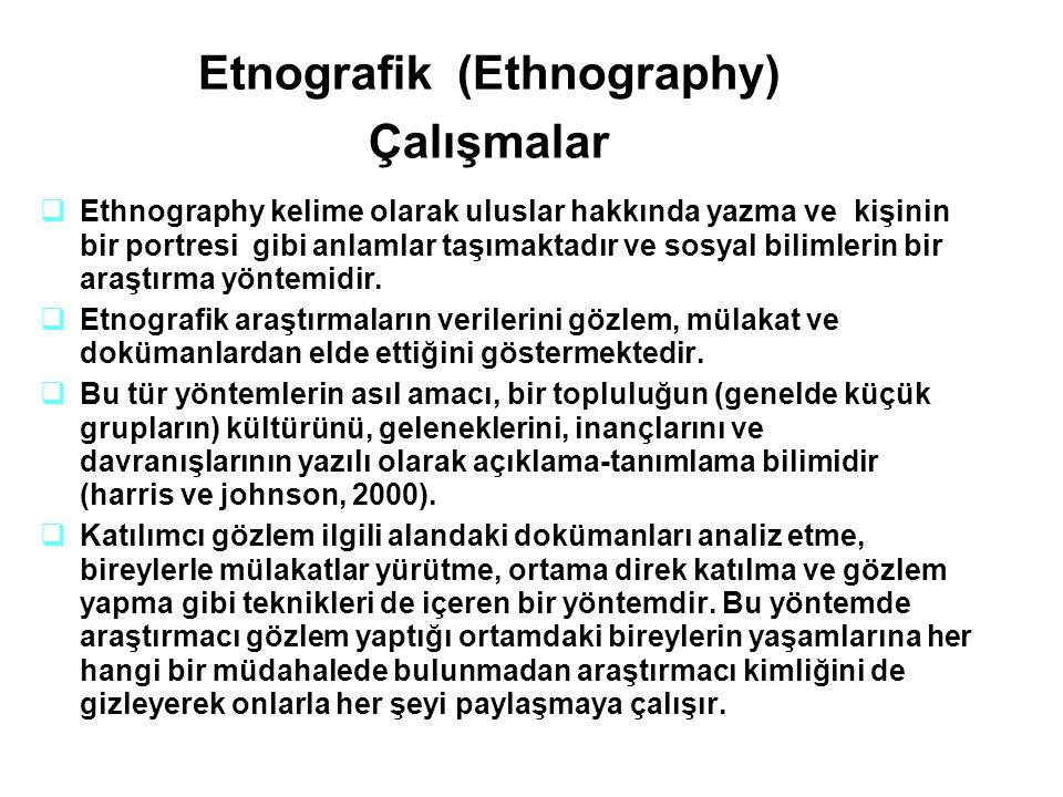 Etnografik (Ethnography) Çalışmalar  Ethnography kelime olarak uluslar hakkında yazma ve kişinin bir portresi gibi anlamlar taşımaktadır ve sosyal bi