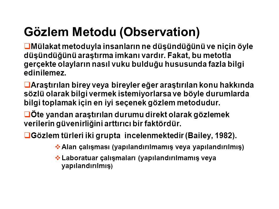 Gözlem Metodu (Observation)  Mülakat metoduyla insanların ne düşündüğünü ve niçin öyle düşündüğünü araştırma imkanı vardır. Fakat, bu metotla gerçekt