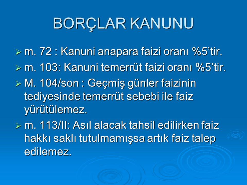 BORÇLAR KANUNU TASARISI  Madde 93- Faiz ödeme borcunda uygulanacak yıllık faiz oranı, sözleşmede veya kanunda belirlenmemişse, faiz borcunun doğduğu tarihte, Türkiye Cumhuriyet Merkez Bankasının, kısa vadeli kredi işlemlerinde, önceki yılın 31 Aralık günü itibarıyla uyguladığı avans faizi oranıdır.