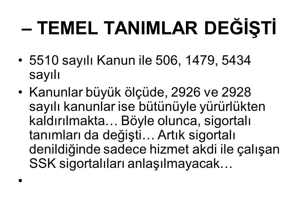•I – İSTEĞE BAĞLI SİGORTA •1-İsteğe bağlı sigorta önceki uygulamalarından farklı bir şekilde ele alınıyor… Artık isteğe bağlı sigortaya girebilmek için gün sayısı aranmayacak… •2-İsteğe bağlı sigortaya 18 yaşını doldurmuş, zorunlu sigortalı olarak çalışmayan ve Türkiye'de ikamet eden TC vatandaşı yada yabancı herkes başvurabilecek…Dahası ay içinde 30 günün altında çalışması olanlar yada tam gün çalışmayan zorunlu sigortalılar bile isteğe bağlı sigortaya prim ödeyebilecekler… •3- İsteğe bağlı sigorta primi ödenmiş süreler, malûllük, yaşlılık ve ölüm sigortaları ile genel sağlık sigortası hükümlerinin uygulamasında dikkate alınacak ve bu süreler 4/b kapsamında sigortalılık süresi olarak kabul edilecek… •4- İsteğe bağlı sigorta primi sigortalı tarafından belirlenecek aylık SPEK tutarının % 32 sidir.