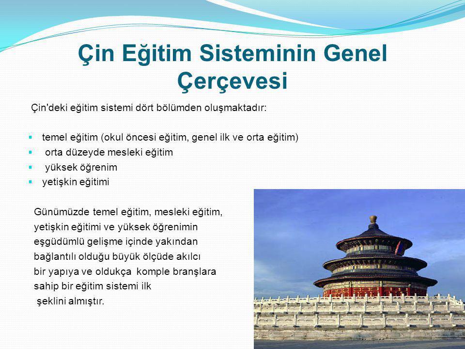 Çin Eğitim Sisteminin Genel Çerçevesi Çin'deki eğitim sistemi dört bölümden oluşmaktadır:  temel eğitim (okul öncesi eğitim, genel ilk ve orta eğitim