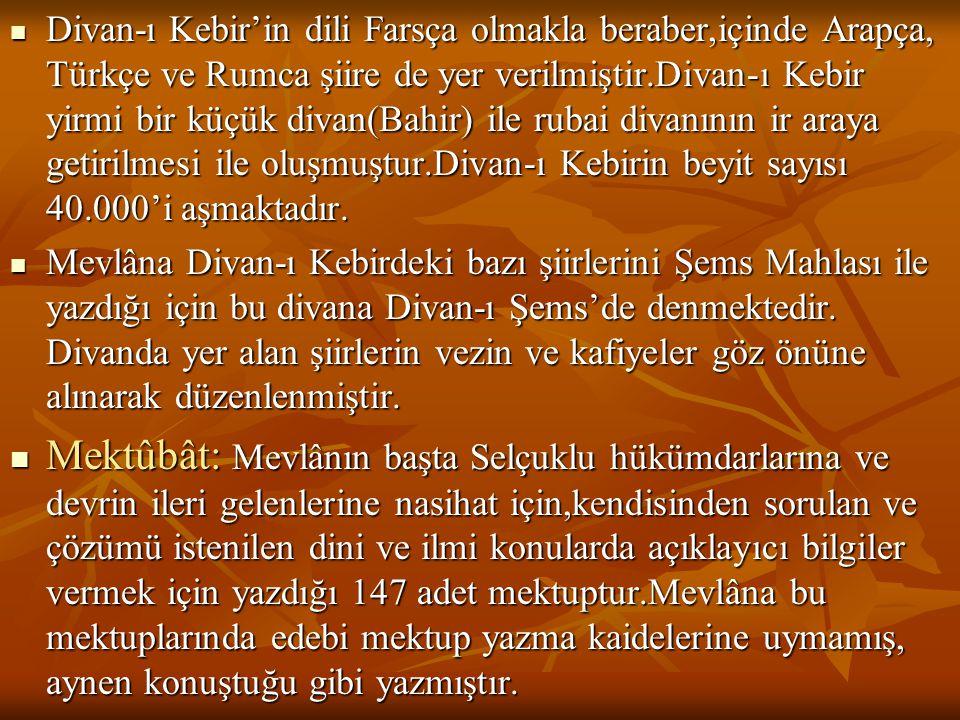  Divan-ı Kebir'in dili Farsça olmakla beraber,içinde Arapça, Türkçe ve Rumca şiire de yer verilmiştir.Divan-ı Kebir yirmi bir küçük divan(Bahir) ile