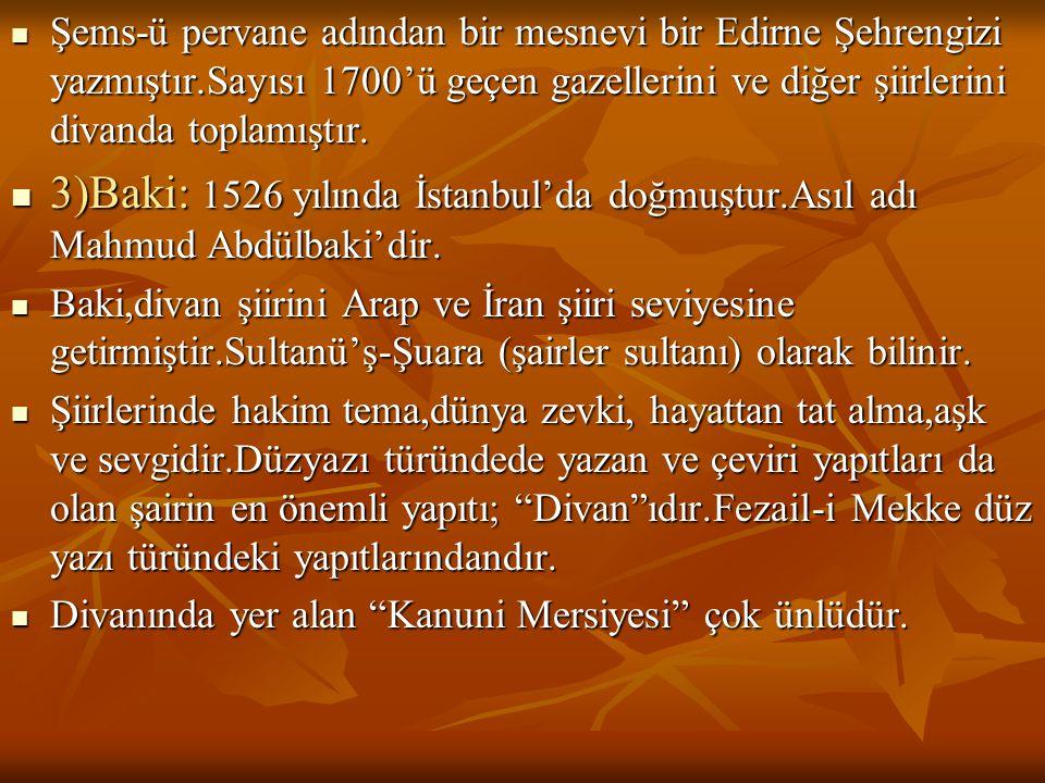  Şems-ü pervane adından bir mesnevi bir Edirne Şehrengizi yazmıştır.Sayısı 1700'ü geçen gazellerini ve diğer şiirlerini divanda toplamıştır.  3)Baki