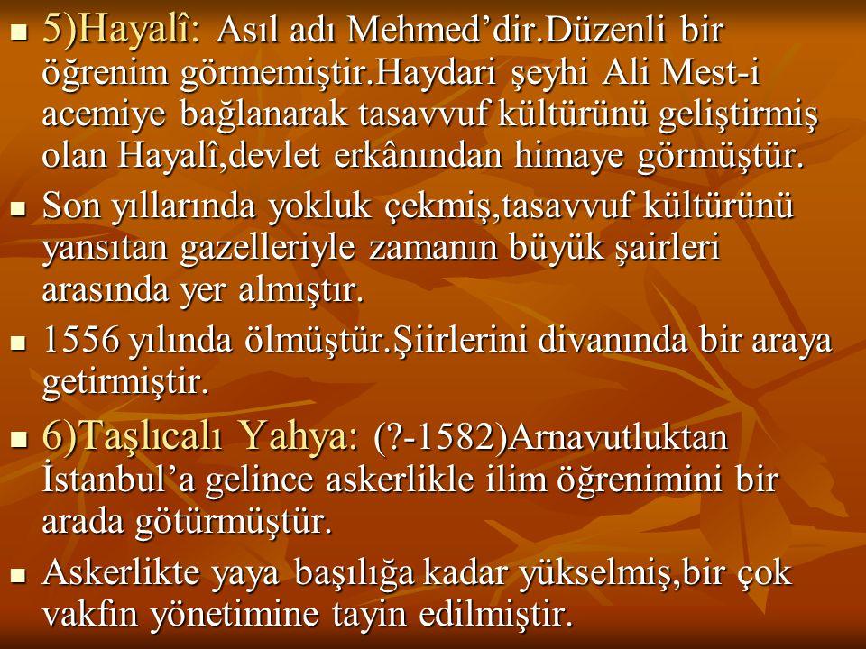  5)Hayalî: Asıl adı Mehmed'dir.Düzenli bir öğrenim görmemiştir.Haydari şeyhi Ali Mest-i acemiye bağlanarak tasavvuf kültürünü geliştirmiş olan Hayalî