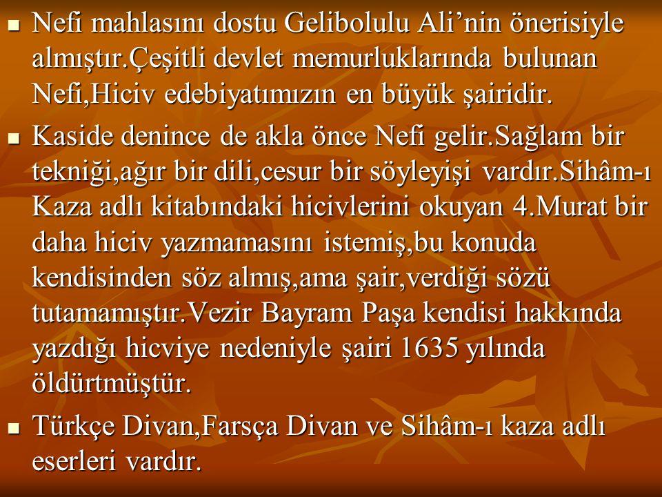  Nefi mahlasını dostu Gelibolulu Ali'nin önerisiyle almıştır.Çeşitli devlet memurluklarında bulunan Nefi,Hiciv edebiyatımızın en büyük şairidir.  Ka