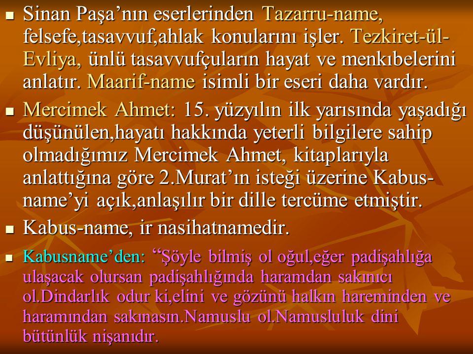  Sinan Paşa'nın eserlerinden Tazarru-name, felsefe,tasavvuf,ahlak konularını işler. Tezkiret-ül- Evliya, ünlü tasavvufçuların hayat ve menkıbelerini