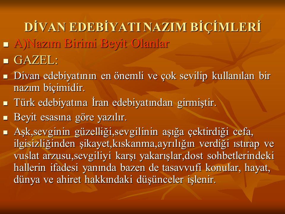  1)Sümbülzade Vehbi: (1719-1809) Öğrenimini Maraş'ta yapan Vehbi İstanbul'a geldikten sonra devlet büyüklerine kasideler,tarihler sunarak kendini tanıtmıştır.Kadı olmuş,kadılıktan sonra elçi olarak İran'a gönderilmiştir.