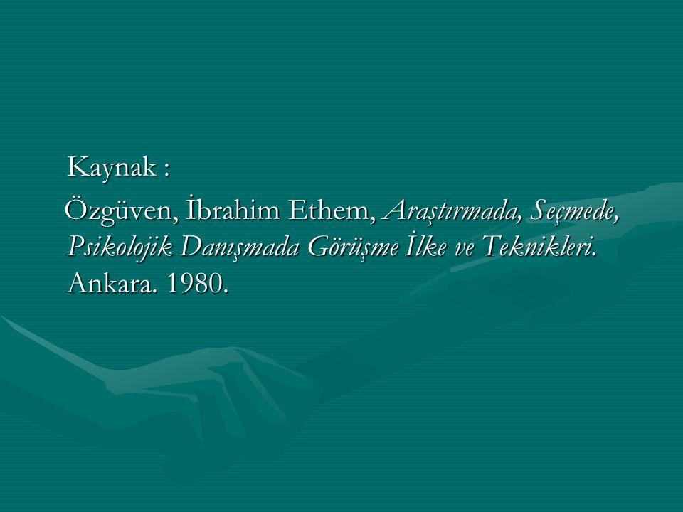 Kaynak : Özgüven, İbrahim Ethem, Araştırmada, Seçmede, Psikolojik Danışmada Görüşme İlke ve Teknikleri. Ankara. 1980. Özgüven, İbrahim Ethem, Araştırm