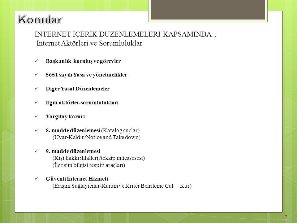 İNTERNET İÇERİK DÜZENLEMELERİ KAPSAMINDA ; İnternet Aktörleri ve Sorumluluklar  Başkanlık-kuruluş ve görevler  5651 sayılı Yasa ve yönetmelikler  D