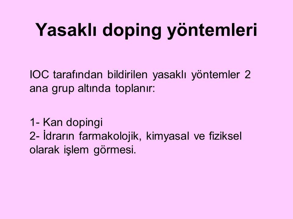 IOC tarafından bildirilen yasaklı yöntemler 2 ana grup altında toplanır: 1- Kan dopingi 2- İdrarın farmakolojik, kimyasal ve fiziksel olarak işlem gör