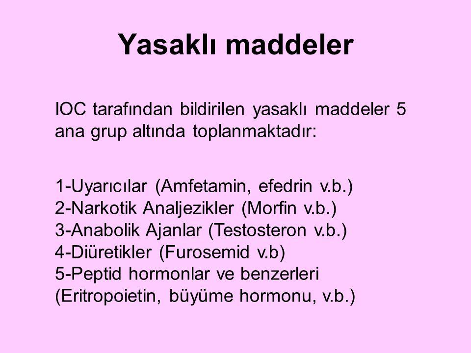 Yasaklı maddeler IOC tarafından bildirilen yasaklı maddeler 5 ana grup altında toplanmaktadır: 1-Uyarıcılar (Amfetamin, efedrin v.b.) 2-Narkotik Analj