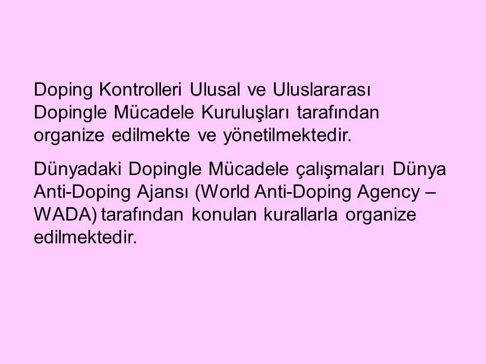Doping Kontrolleri Ulusal ve Uluslararası Dopingle Mücadele Kuruluşları tarafından organize edilmekte ve yönetilmektedir. Dünyadaki Dopingle Mücadele