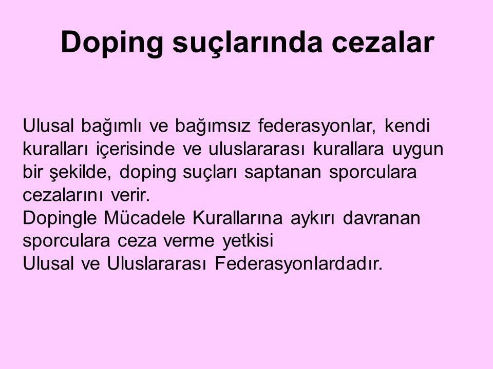 Ulusal bağımlı ve bağımsız federasyonlar, kendi kuralları içerisinde ve uluslararası kurallara uygun bir şekilde, doping suçları saptanan sporculara c