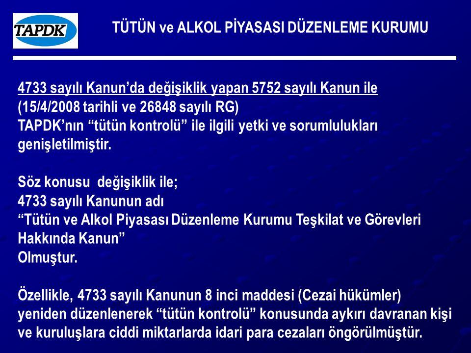 TÜTÜN ve ALKOL PİYASASI DÜZENLEME KURUMU 4733 sayılı Kanun'da değişiklik yapan 5752 sayılı Kanun ile (15/4/2008 tarihli ve 26848 sayılı RG) TAPDK'nın