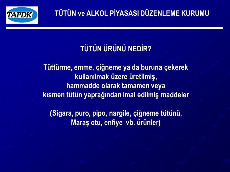 TÜTÜN ve ALKOL PİYASASI DÜZENLEME KURUMU TÜTÜN ÜRÜNLERİ Tüketimi yılda toplam 107,5 milyar adet kg, TAPDK-2007 Tüketimi erişkinlerde %33,4 (erkeklerde %50.6, kadınlarda %16,6), TÜİK 2006 Türk halkının %80'i pasif içici, Euro Barometre 2005 Tütün ürünleri tüketiminin neden olduğu olduğu ölümler yılda en az 100.000 kişi Pasif maruziyetten ölüm 15.000 (10.000'i çocuk) Tüm kanser türlerinin %30'una tütün ürünleri sebep oluyor (Sağlık Bakanlığı) Tütün ürünlerine yılda 20 milyar dolar ödüyoruz.