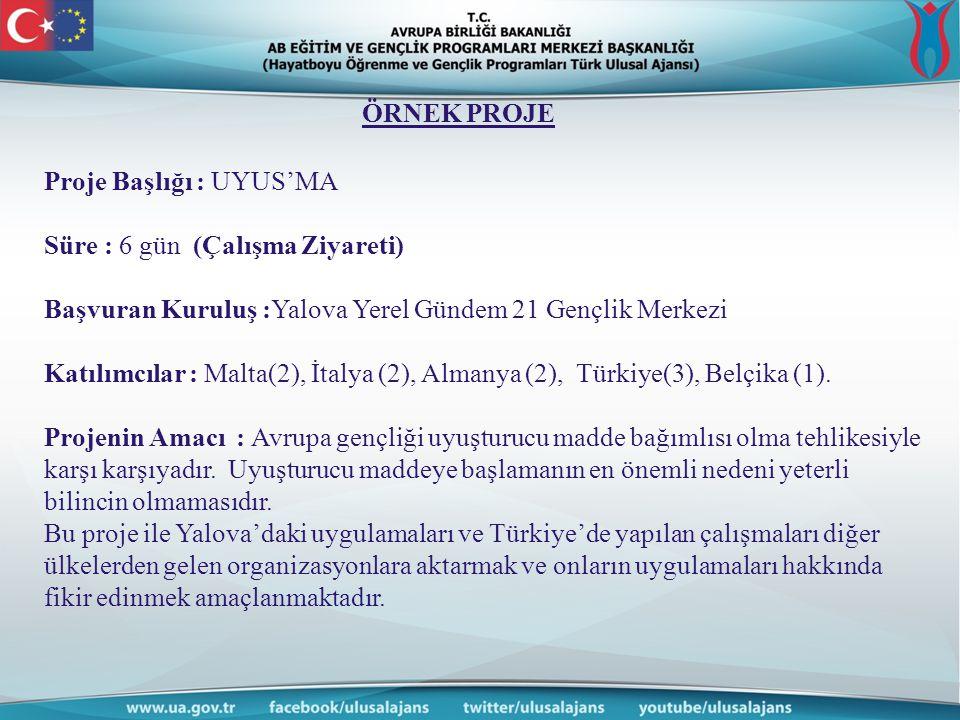Proje Başlığı : UYUS'MA Süre : 6 gün (Çalışma Ziyareti) Başvuran Kuruluş :Yalova Yerel Gündem 21 Gençlik Merkezi Katılımcılar : Malta(2), İtalya (2), Almanya (2), Türkiye(3), Belçika (1).