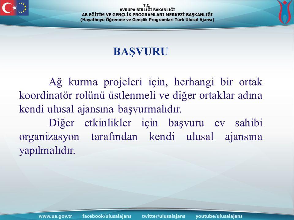 BAŞVURU Ağ kurma projeleri için, herhangi bir ortak koordinatör rolünü üstlenmeli ve diğer ortaklar adına kendi ulusal ajansına başvurmalıdır. Diğer e