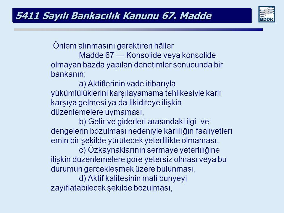 5411 Sayılı Bankacılık Kanunu 67. Madde Önlem alınmasını gerektiren hâller Madde 67 — Konsolide veya konsolide olmayan bazda yapılan denetimler sonucu