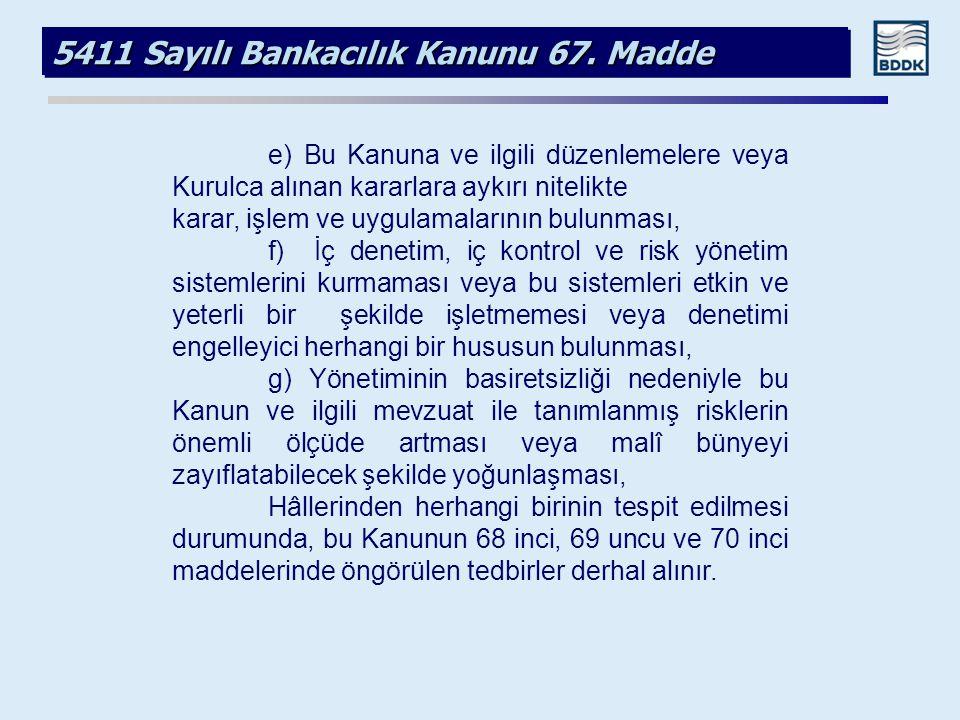 5411 Sayılı Bankacılık Kanunu 67. Madde e) Bu Kanuna ve ilgili düzenlemelere veya Kurulca alınan kararlara aykırı nitelikte karar, işlem ve uygulamala