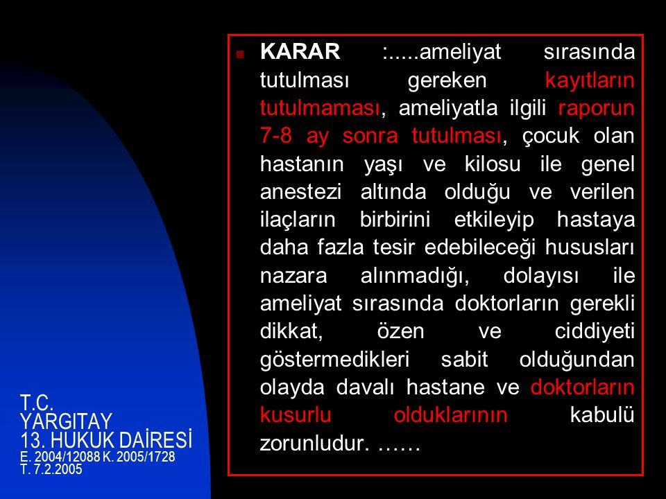T.C.YARGITAY 13. HUKUK DAİRESİ E. 2004/12088 K. 2005/1728 T.